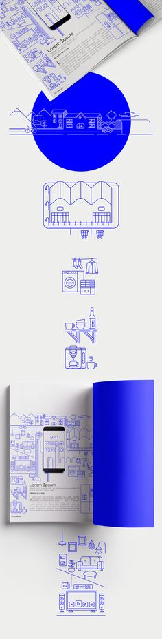 Nice use of simple line to create shape. Smart Home. Ilustración Editorial on Behance
