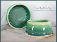 Teal Pottery spaniel dog bowl set by rikablue on Etsy, $48.00