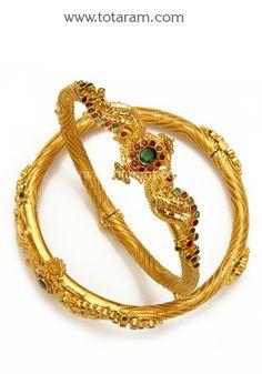 Gold Kada with Ruby & Emerald - Set of 2 Pair): Totaram Jewelers: Buy Indian Gold jewelry & Diamond jewelry Gold Ruby Necklace, Ruby Jewelry, Gold Jewelry, Coral Earrings, Jewellery, Gold Bangles Design, Gold Earrings Designs, Gold Mangalsutra, 22 Carat Gold