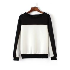 Round Neck Color-block Sweatshirt ($16) ❤ liked on Polyvore featuring tops, hoodies, sweatshirts, black and white, sweatshirt pullover, sweater pullover, black and white sweatshirt, sweat shirts and black white top