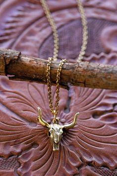 Cow skull necklace by AmanoStudioSonoma on Etsy, $32.00