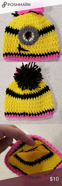 New knitted Minion baby hat 6-12m Cozy knitted Minion baby hat, new. Accessories Hats