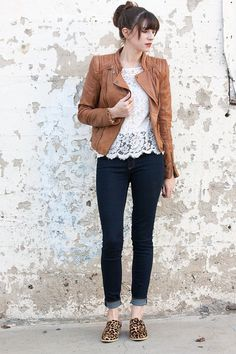 leather jacket, lace tee, leopard mules, gap jeans // fall outfit