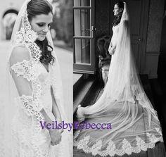 Dramatic Lace Wedding Veil Lace Bridal Veil 1 by VeilsbyRebecca
