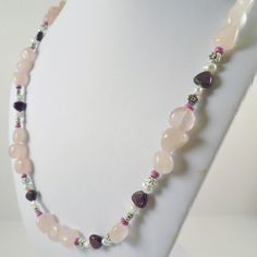 Rose Quartz necklace,  Garnet beaded necklace, mothers day gift