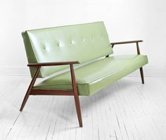 Mid Century Green Sofa Modern Wood Couch Retro by Hindsvik, $899.00