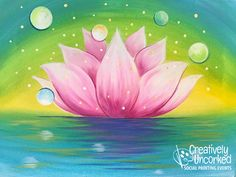 Paintings – 2 Hour on Creatively Uncorked Lotus Painting, Flower Painting Canvas, Diy Painting, Painting & Drawing, Canvas Art, Lotus Art, Pink Lotus, Lotus Flowers, Kids Painting Projects