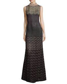 Sleeveless Metallic Ripple-Stitch Maxi Dress, Size: 38/2, Eggplant - M Missoni