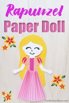 Disney Paper Doll - This cute Rapunzel paper doll is a fun way to keep the little princesses entertained on a rainy day! It's a great craft for kids and this princess paper doll makes a fun mommy/daughter project too! Disney Princess Crafts, Little Disney Princess, Disney Princess Coloring Pages, Disney Princess Colors, Disney Crafts, Diy Projects For Kids, Diy For Kids, Crafts For Kids, Paper Doll Craft