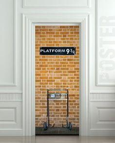 "Oh how I wish matt would let me do this to our door... lol Amazon.com - Wall Door STICKER harry potter platform 9 3/4, mural, decole, film 30x79"" (77x200 Cm)"