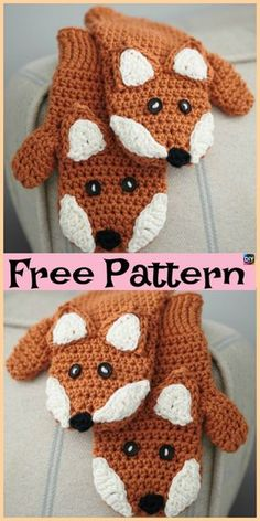 Knit / Crochet Fox Mittens - Free Patterns These Crochet Fox Mittens are pretty cute, and they also come with a knitting design. We have both knit and crochet design Crochet Baby Mittens, Crochet Mitts, Crochet Mittens Free Pattern, Crochet Gloves, Baby Knitting Patterns, Crochet Scarves, Free Crochet, Crochet Patterns, Knit Crochet