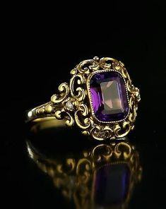 Russian Renaissance Style Gold Ring with a Siberian Amethyst - Antique Jewelry | Vintage Rings | Faberge Eggs