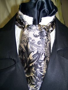 Ascot or Carvat Black and Tan Paisley Silky print by civilwarlady