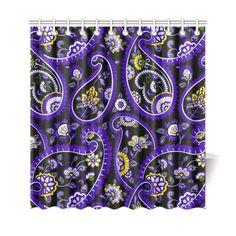 Purple Gold Elegant Vintage Floral Paisley Shower Curtain X - Purple and gold shower curtain