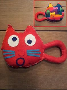 Kitty cat rattle from felt - made by me!!