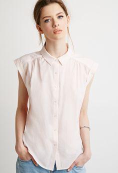 Contemporary Classic Cuffed-Sleeve Shirt   LOVE21 - 2000077904