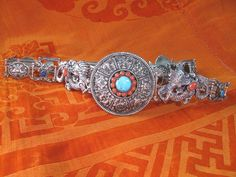 Fantastic Circa 1900 Sterling Silver Chinese Belt With Coral, Turquoise & Lapis
