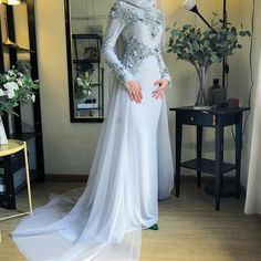 for solemnization dress Hijab Prom Dress, Muslimah Wedding Dress, Hijab Evening Dress, Muslim Wedding Dresses, Blue Wedding Dresses, Bridal Dresses, Dress Muslimah, Hijab Bride, Muslim Brides
