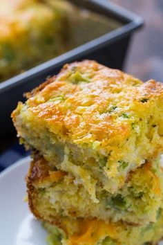 Cheesy Broccoli Cornbread is a great way to sneak extra veggies into a meal. Broccoli and cheese taste so good together and with 1 cups of shredded cheddar cheese, this recipe really capitalizes on that flavor combination. Jiffy Cornbread Recipes, Cornbread Casserole, Casserole Dishes, Casserole Recipes, Cheesy Cornbread, Veggie Recipes, Baby Food Recipes, Cooking Recipes, Veggie Food