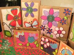 bolsas rusticas decoradas bolsas cartulina reciclada cinta,twist soguilla  patchwork  cartonaje
