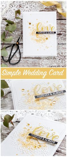 card classic Quick & Easy Card For The Wedding Season Simple Wedding Cards, Wedding Cards Handmade, Greeting Cards Handmade, Wedding Gifts, Wedding Ideas, Love Cards, Diy Cards, Scrapbooking, Scrapbook Cards