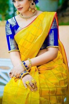 Color : Yellow  Saree Fabric : Soft Silk Blouse Fabric : Soft Silk Saree Size : 5.5 Mtr  Blouse Size : 0.80 Mtr Pattu Saree Blouse Designs, Bridal Blouse Designs, Saree Color Combinations, Yellow Saree, Stylish Blouse Design, Soft Silk Sarees, Cotton Saree, Saree Models, Elegant Saree