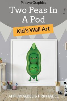 Charming kids printable wall art for nurseries, playrooms and children's playrooms. This cute 3d character of two peas in a pod, great for twins, siblings or anyone who loves each other. --------------------------------------------- This poster is instant download and printable, CLICK IMAGE TO VISIT. ---------------------------------------------- #wallart #nurserydecor #printable #kidsroomdecor #peasinapod #nurseryart #playroom Art Wall Kids, Art For Kids, Printing Services, Online Printing, Siblings, Twins, Simple Photo, Playrooms, 3d Character