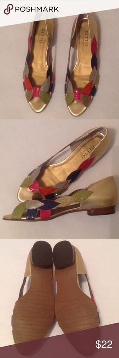 🆕 beautiful gold and multicolor flats NWOT Lovely flats with multi colored leaf pattern in a faux snakeskin material. Shades of hot pink, navy, silver, orange, gold, green with gold in back and in insole. Very charming for any occasion. 7.5 M. No box. Ditto by Van Eli Shoes Flats & Loafers