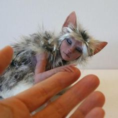 Anime inspired pixie - one of a kind miniature art sculpture - polymer clay / mixed media fairy