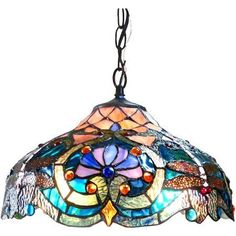 Chloe Lighting Lydia Tiffany-Style 2-Light Victorian Ceiling Pendant Fixture with 17 inch Shade, Multicolor