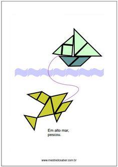 atividades de tangram Scissors, Pencil, Stone, Geometry Activities, Lesson Planning, Math Notebooks, Happy Children, Learning, Batu