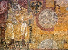 Part of the enormous (and shamefully ill-lit) mosaic depicting the life and times of Charles IV, Holy Roman Emperor, designed by the painter and illustrator Radomír Kolář. Among Charles's greatest achievements was the foundation of the university which bears his name, whose seal appears on the right of the picture. The collage was erected in the vestibule of Karlovo náměstí metro station for its opening in 1985. Prague CZ