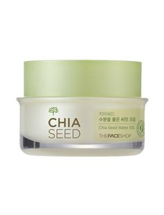 Chia Seed Moisture-holding Seed Cream:  A moisturizing cream with freshly germinated chia seeds in water drops fully hydrate the skin appearance.
