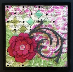 Layery Mixed Media Card by Lauren Bergold; Glitter Black Washi, Flower Bling, Solid Color Paper Flowers and Black Enamel Dots by Eyelet Outlet
