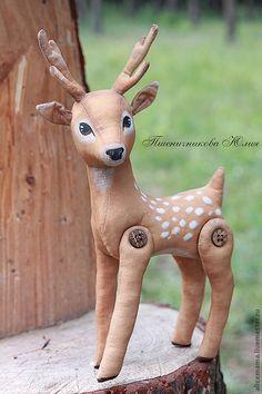 Купить Лесной олененок. Старший брат - коричневый, олень, олененок, кофейная игрушка, лесной олень