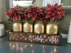 O Holy Night Christmas Centerpiece – Stacy Turner Creations Christmas Poinsettia, Winter Christmas, Rustic Christmas, Christmas Holidays, Christmas Night Light, Primitive Christmas, Christmas Christmas, Christmas Projects, Holiday Crafts