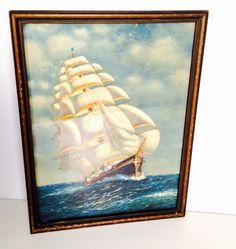 vintage sailing ship framed lithograph  by forrestinavintage