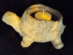 Stone Turtle Candle Incense Holder Handmade by MountainArtCasting
