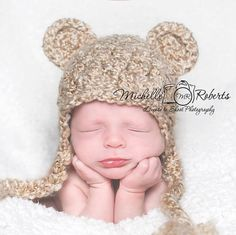 Bear Hat Ready to Ship Baby Boy Hat Baby Girl Hat by CarolinaHats