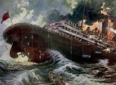 History's Greatest War 1919 Ill-fated Lusitania, sunk by German submarine Poster Print by Unknown x Titanic, History Projects, History Class, School Projects, Art History, German Submarines, Abandoned Ships, Out To Sea, A Series Of Unfortunate Events