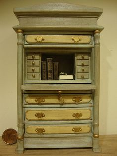 miniatures, antique furniture desk on Etsy, $148.66