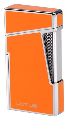 Lotus L48 Orange & Polished Chrome Dual Flame Lighter with Punch Cool Lighters, Cigar Lighters, Cigar Accessories, Smoking Accessories, Id Design, Door Design, Cigar Humidor, Cigar Room, Pipes And Cigars