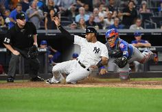 Subway Series 2017  -  The Yankees swept the Mets in the Subway Series Aug. 14-17, 2017, winning all four games at Yankee Stadium and Citi Field:    New York Yankees center fielder Aaron Hicks slides safely home against New York Mets catcher Rene Rivera during the fourth inning in a MLB baseball game at Yankee Stadium on Monday, Aug. 14, 2017.