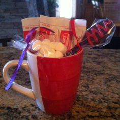 Hot chocolate party favor for ice skating party