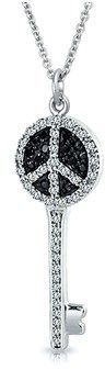 Bling Jewelry Cz Simulated Onyx Peace Sign Key Pendant Sterling Silver Necklace 18 Inches.