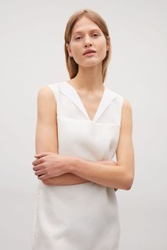 COS image 2 of Dress with folded neckline in Ivory