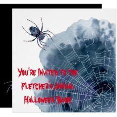 Spider Spiderweb Bats Halloween Invitation - invitations custom unique diy personalize occasions