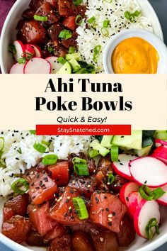 These Easy Ahi Tuna Poke Bowls are homemade and perfect for a quick weeknight dinner. Made with healthy ingredients like fresh fish, avocado, and rice, ditch your boring salad for this meal. Drizzle it in spicy mayo for an extra kick! Rice Recipes For Dinner, Easy Rice Recipes, Delicious Dinner Recipes, Quick Weeknight Dinners, Quick Easy Meals, Fast Healthy Meals, Healthy Recipes, Healthy Food, Ahi Tuna Poke