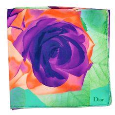 786ed1787 Christian Dior Green Purple Orange Floral Silk Square Scarf from Como Milano