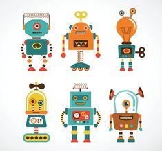 Fotobehang: Vintage Robot Icoontjes